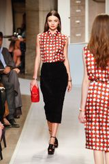 Loewe Spring 2012 Black Mid Lenght Pencil Skirt With Ruffle Details