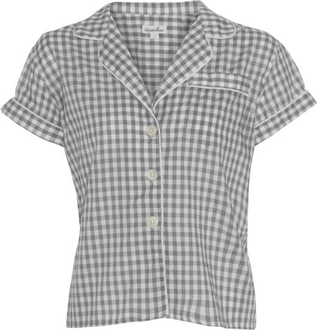 Steven Alan Gingham Cropped Pajama Top in Gray (white) - Lyst