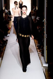 Yves Saint Laurent Spring 2012 Black Caped Evening Gown With Crystal Trimmed Neck - Lyst