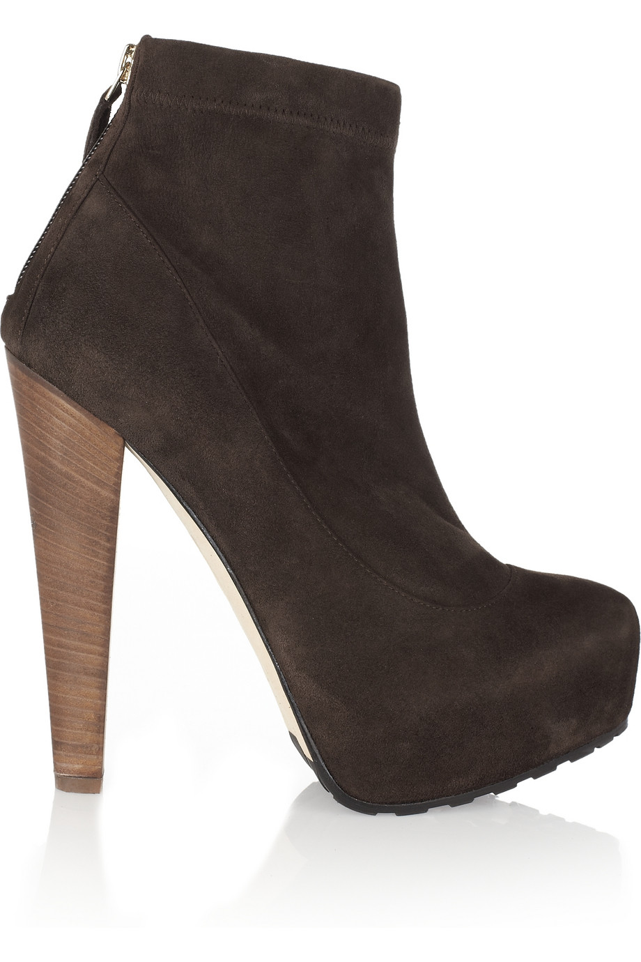 brian atwood ami suede platform ankle boots in brown lyst