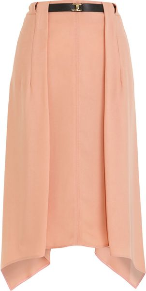 Marni Asymmetric Belted Skirt in Pink (gold) - Lyst
