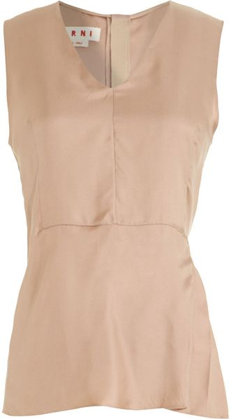Marni Side Pleat Blouse in Beige (tan) - Lyst