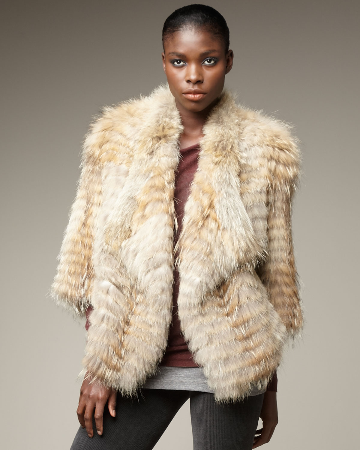 Vince Coyote Fur Jacket in Natural | Lyst