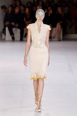 Alexander McQueen Spring 2012 Beige Scallop Neck Plisse Dress With Gold Splattered Hem
