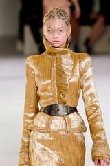 Alexander Mcqueen Spring 2012 Gold Plisse Detail & Ruffle Trim Pencil Skirt  in Gold - Lyst