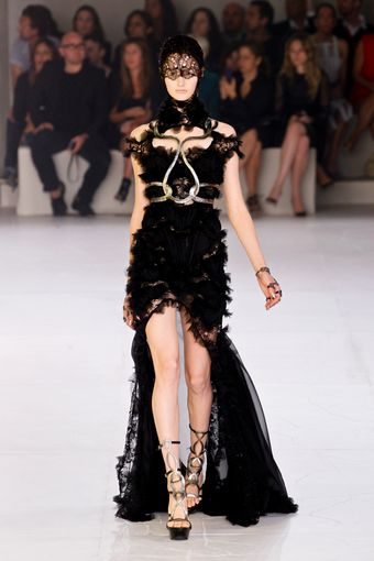 Alexander McQueen Spring 2012 Chiffon And Lace Maxi Dress With Ruffles And Metallic Detailing  - Lyst