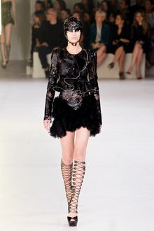 Alexander McQueen Spring 2012 Black Cut Out Shiny Leather Dress With Ruffle Bottom - Lyst
