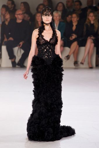 Alexander McQueen Spring 2012 Black Cut Out Embellished Gown With Mille-Feuille Skirt  - Lyst