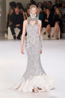 Alexander McQueen Spring 2012 Gray Sleeveless Embellished Feather Bottom Gown with Accentuated Hips And High Neck   - Lyst
