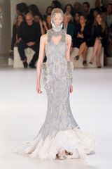 Alexander McQueen Spring 2012 Gray Sleeveless Embellished Feather Bottom Gown with Accentuated Hips And High Neck