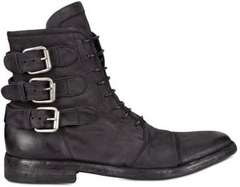 BB Bruno Bordese Belted Waxed Calfskin Boots - Lyst