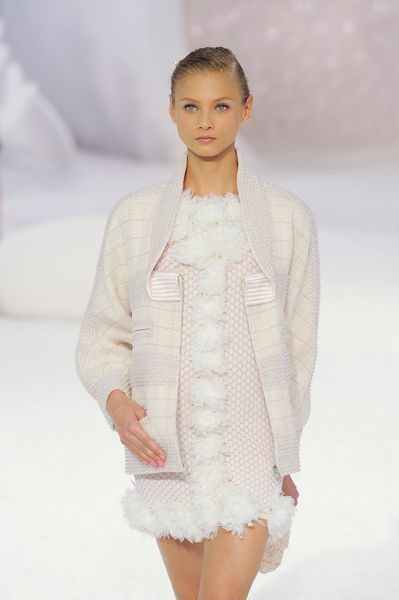 Chanel Spring 2012 Pink Feather Trimmed Mini Dress in Pink - Lyst