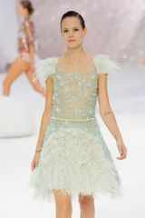 Chanel Spring 2012 Feather Trimmed Cocktail Dress With Scribble Embroided Corsage - Lyst