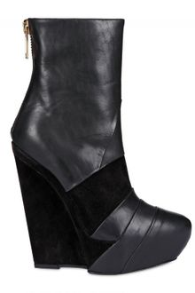 Gareth Pugh 140mm Suede & Calfskin Low Boot Wedges - Lyst