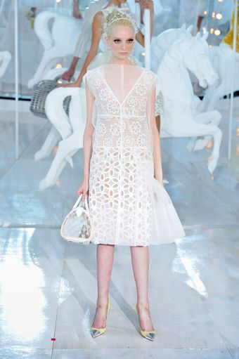 Louis Vuitton Spring 2012 Laser Cut Out Broderie Anglaise Knee Lenght Dress with Silk Sheer Layer - Lyst