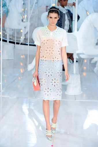Louis Vuitton Spring 2012 Candy-Color Laser-Cut Broderie Anglaise Lace Dress with Oversized Lacy Collar - Lyst