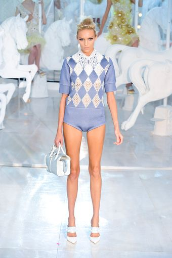 Louis Vuitton Spring 2012 Blue Short Sleeve Playsuit With White Brodierie Anglaise Details - Lyst