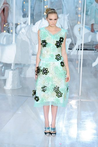 Louis Vuitton Spring 2012 Sheer Blue Floral Embellished Midi Skirt  - Lyst