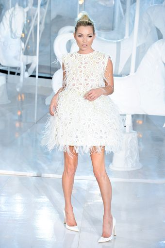 Louis Vuitton Spring 2012 Broderie Anglaise Feather Dress - Lyst