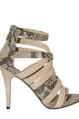 Michael by Michael Kors 100mm Python Print Leather Sandals - Lyst