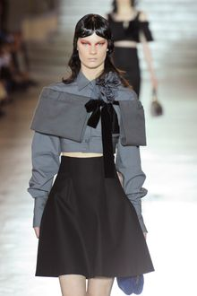 Miu Miu Spring 2012 Cropped Shirt with Rosettes and Exaggerated Sleeves - Lyst