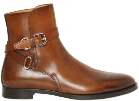 Ralph Lauren Collection Quinta Calfskin Ankle Boot in Brown (cuoio) - Lyst