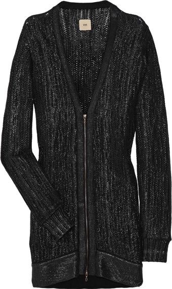 RM By Roland Mouret Marcy Metallic-coated Wool-blend Cardigan - Lyst