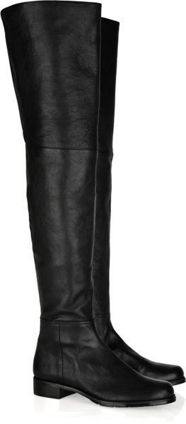stuart weitzman flat leather thigh boots in black lyst