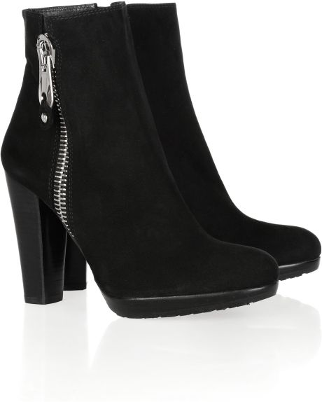 stuart weitzman oversized zip suede ankle boots in black