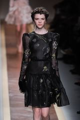 Valentino Spring 2012 Sheer Black Long Sleeved Floral Print Evening Dress With Ruffle Detail  - Lyst