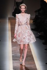 Valentino Spring 2012 Sheer Long Sleeve Floral Print Evening Dress With Ruffle Detail - Lyst