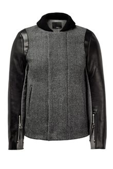 3.1 Phillip Lim Grey Tweed Leather Biker Sleeve Slim Coat - Lyst