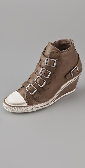 Lyst Ash Genial 4 Buckle Wedge Sneakers In Brown