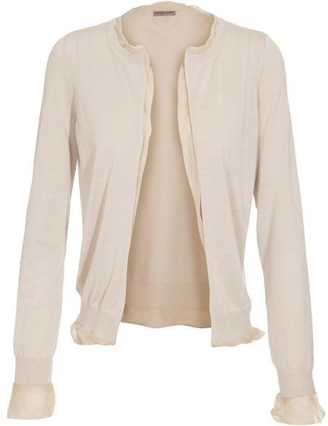 Bottega Veneta Silk Lined Silkcashmere Knit Cardigan in Beige - Lyst