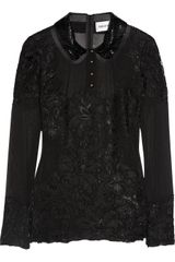 Emilio Pucci Embellished Silk and Lace Blouse - Lyst