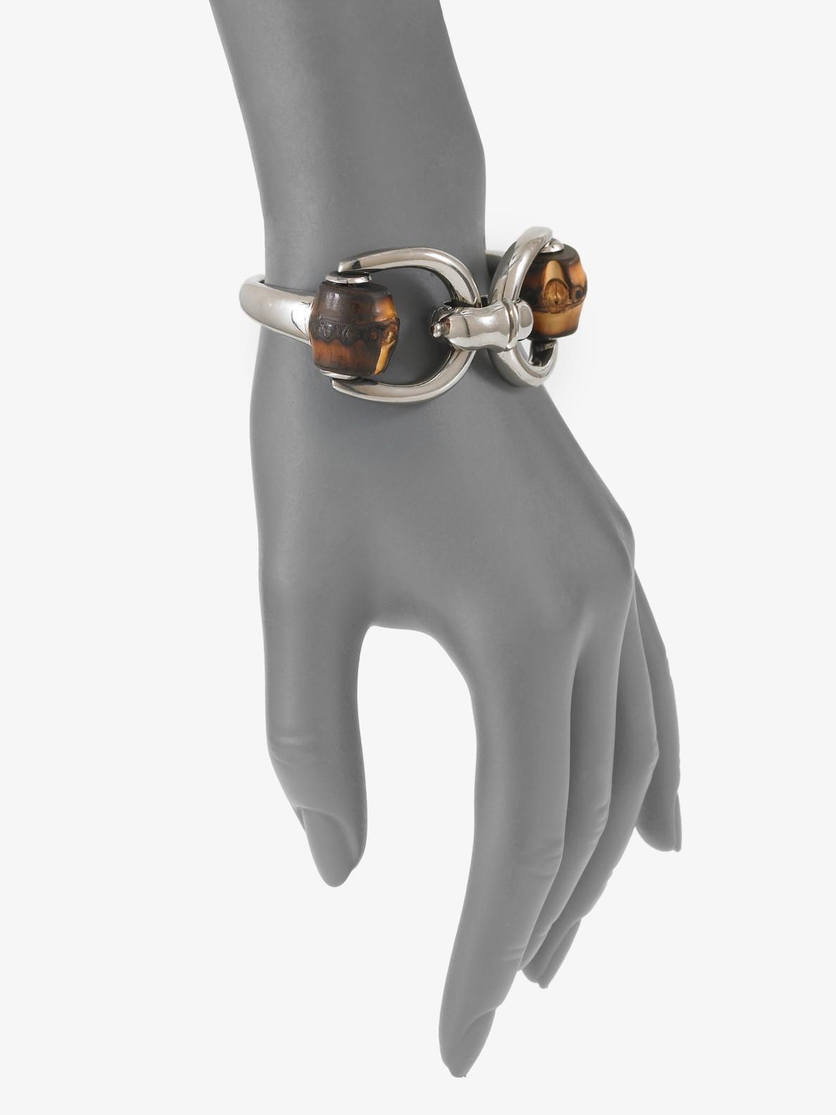 60922e642 Gucci Bamboo Horsebit Sterling Silver Bracelet in Metallic - Lyst