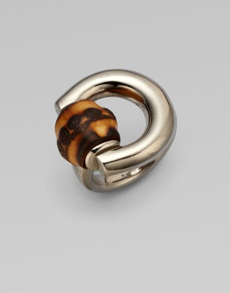 gucci bamboo horsebit sterling silver ring in silver lyst