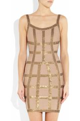 Hervé Léger Sequined Bandage Dress in Beige (nude) - Lyst