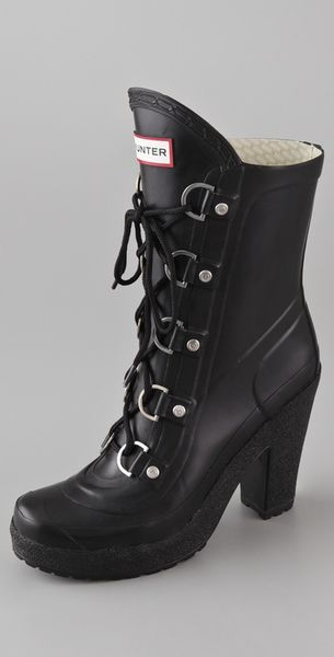 Hunter Gabby Lace Up High Heel Boots in Black