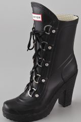 Hunter Gabby Lace Up High Heel Boots - Lyst