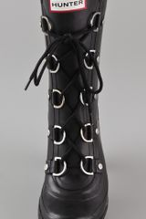 Hunter Gabby Lace Up High Heel Boots in Black - Lyst