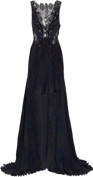 Julien Macdonald Jacobite Tartanprint Silkchiffon Gown in Blue (navy) - Lyst