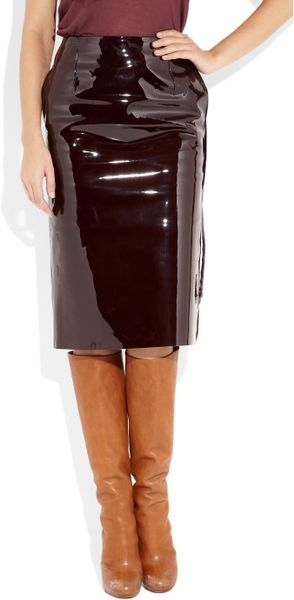 maison margiela patent leather pencil skirt in purple