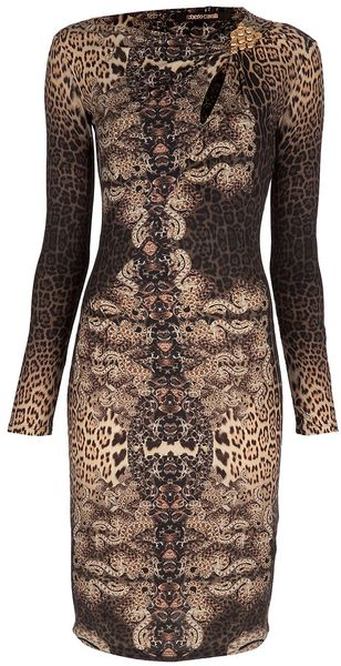 Roberto Cavalli Leopard Print Fitted Dress - Lyst