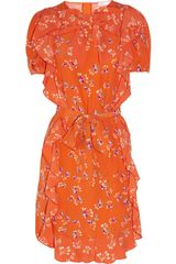 See By Chloé Ruffled Printed Crepe Dress - Lyst