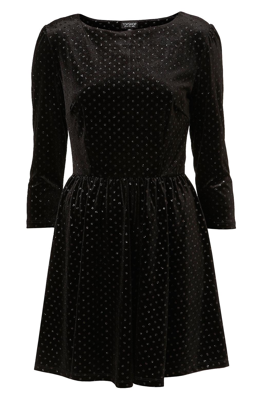 lyst topshop glitter spot velvet dress in black