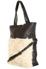 Topshop Leather Shearling Panel Bag