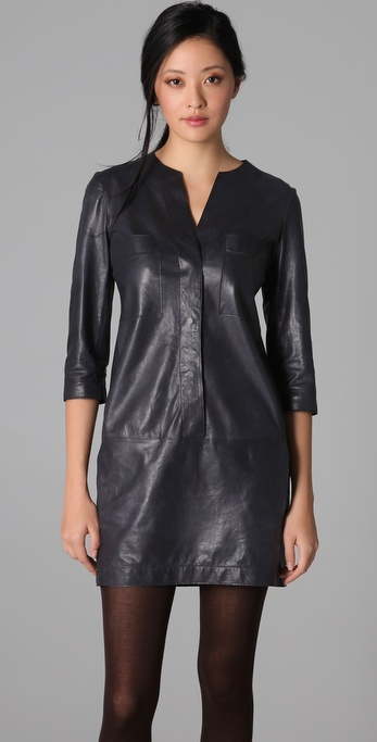 Vince Leather Shirtdress in Blue | Lyst