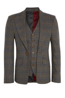 Vivienne Westwood Brown Check Tweed Attached Waistcoat Blazer - Lyst