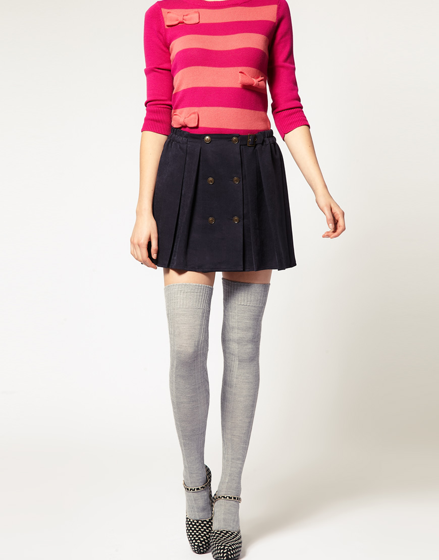 049c0ef0edf Lyst Asos Collection Wool Cable Over The Knee Socks In Gray
